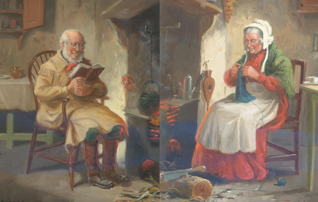 Alexander Austen (British) Old man reading in an interior, and another, Old woman knitting,