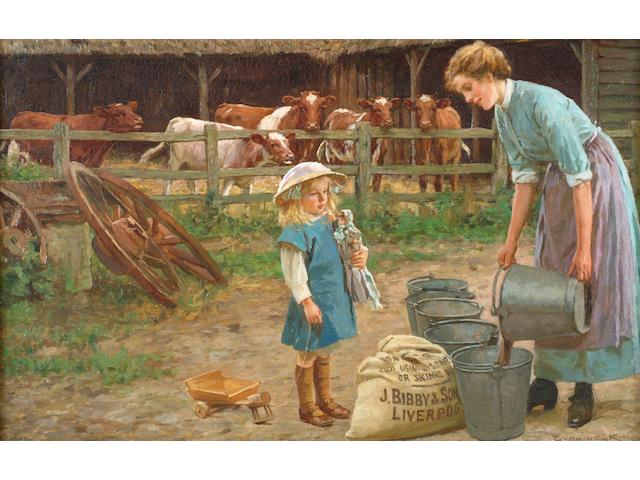 """Gunning King (British, 1859-1940) """"A game of patience"""","""