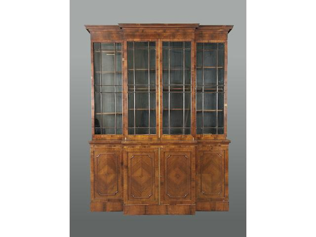 A rosewood and brass line-inlaid breakfront library bookcase