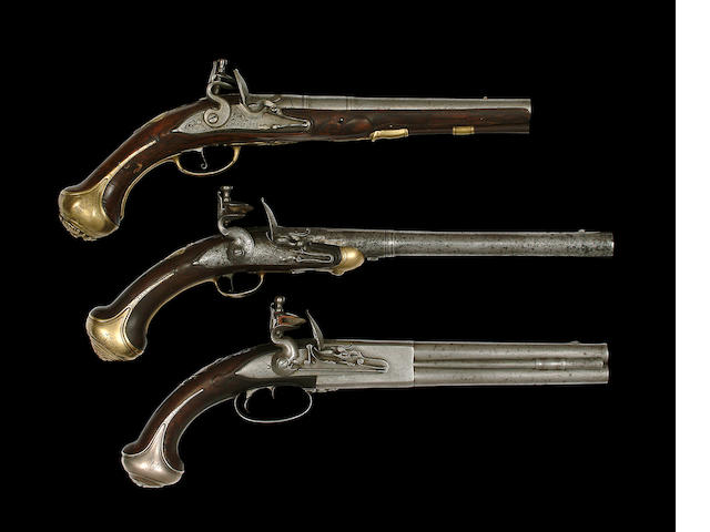An Unusual 16-Bore Brass-Mounted Flintlock Pistol
