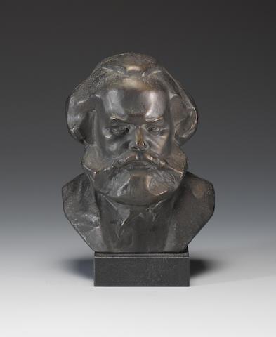 Karl Marx (1818-1883) Bronze portrait bust, Russian School, 19th Century