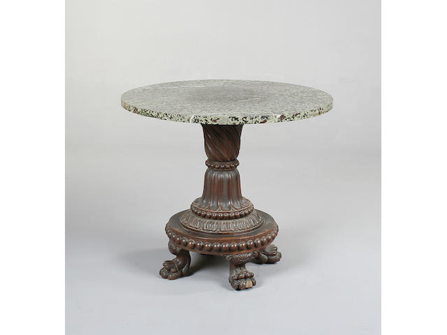A late Regency oak centre table