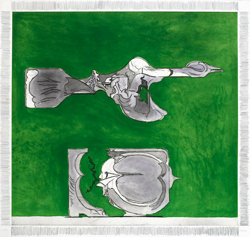 Graham Sutherland O.M. (British, 1903-1980) Bird and Split Rock Etching and aquatint, printed in colours, 1974, on wove, the full sheet, signed and numbered 14/72 in pencil, printed and published by 2RC, Milan; in good condition, 1090 x 1160mm (43 x 45 3/4in)(SH) unframed