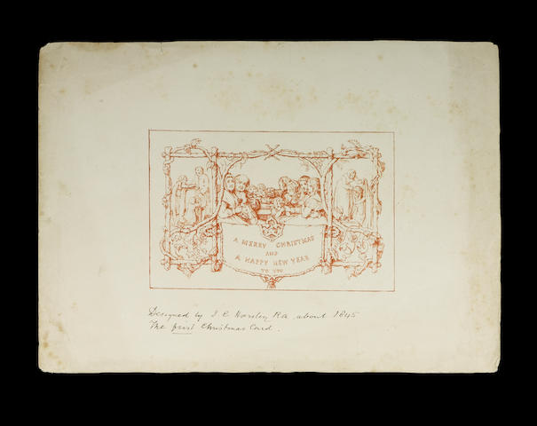 Christmas Card A proof of one of the first Christmas cards, dating from 1843 and showing a family ea