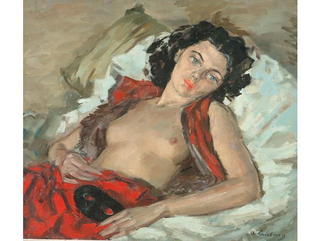 André  Hambourg (French, 1909-1999) Reclining semi-nude woman,