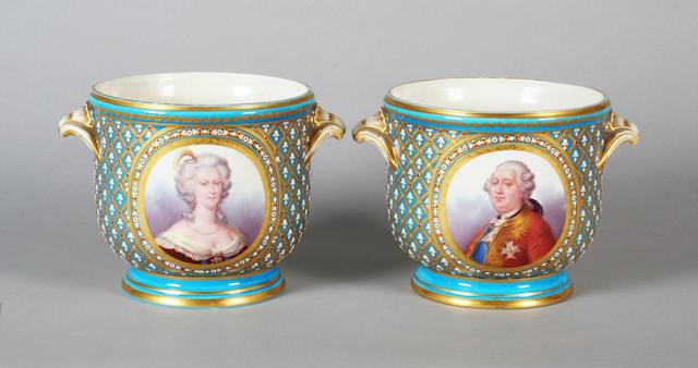 A pair Sèvres style cache pots Mid 19th Century