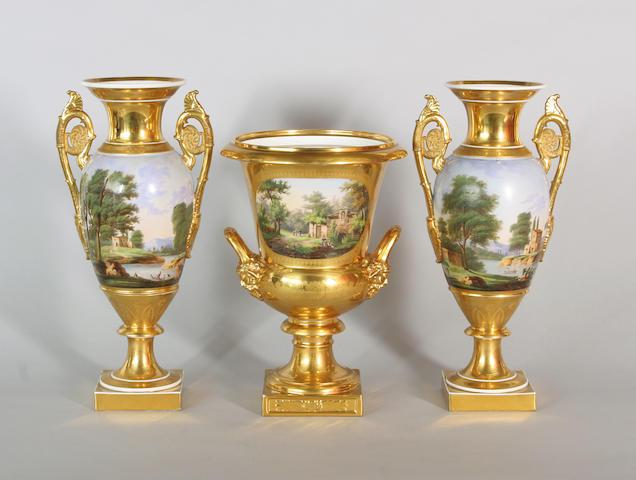 An impressive Paris porcelain assembled garniture Circa 1820-30