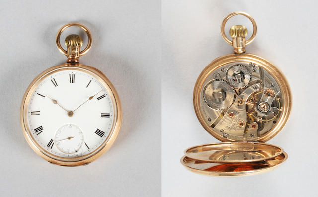 A 9 carat gold open faced lever movement pocket watch