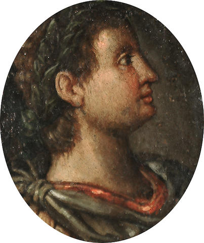 Italian School, 18th Century Portrait of a Roman emperor in profile; and A portrait of a Roman emperor in profile, a pair each 10 x 9cm (3 7/8 x 3½in), together with an engraved portrait said to be of Karl Ferdinand Friedrich von Nagler (3)