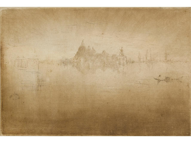James Abbott McNeill Whistler (American, 1834-1903) Nocturne: Salute Etching, fifth and final state, on crisp cream laid, with thread margins and a tab lower left, unsigned; in good condition, 155 x 226mm (6 1/4 x 8 3/4in)(SH)