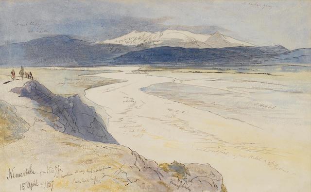 Edward Lear (British, 1812-1888) Nemertska from Kouzza, Albania 32.4 x 52.1 cm. (12¾ x 20½ in.)
