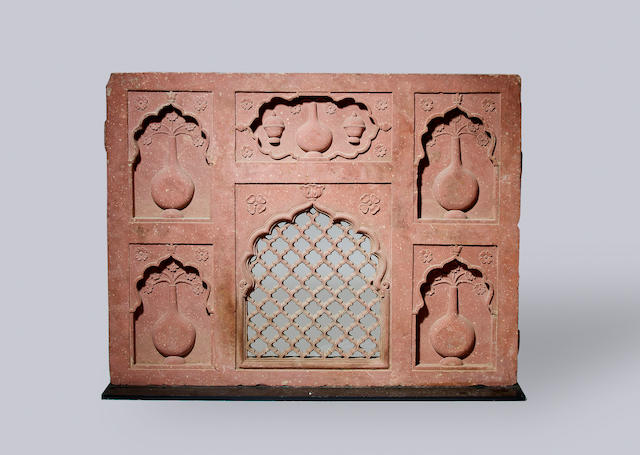 A Mughal red sandstone architectural Panel  India, 17th/ 18th Century