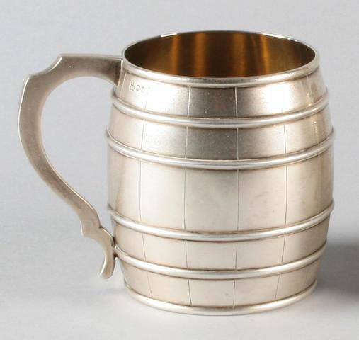 A Victorian barrel shaped mug By Messrs. Lias, 1871,