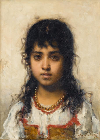 Alexei Alexeevich Harlamoff (Russian, 1840-1925) Portrait of a young girl 48 x 36 cm. (19 x 14 1/4 in.)
