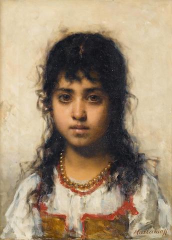 Alexei Alexeevich Harlamoff (Russian, 1840-1925) Portrait of a young girl 48 x 36 cm. (19 x 14 1/4 i