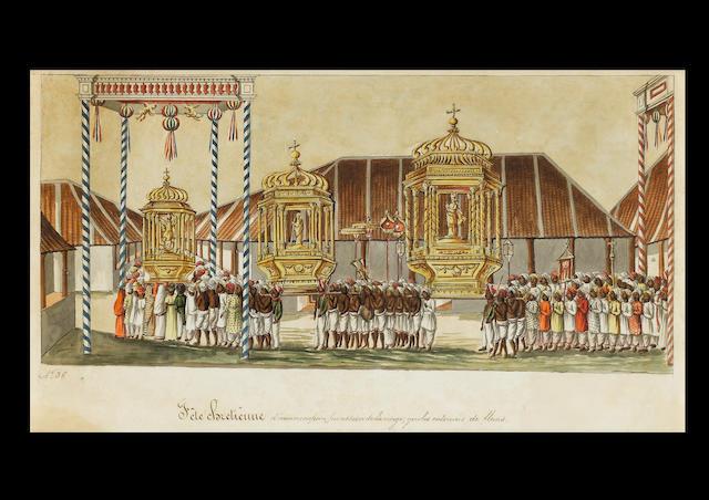 Une gouache Titree fete Chretienne, numero 36, L'ecole des Indes, debut 19e, 46 x 26cm