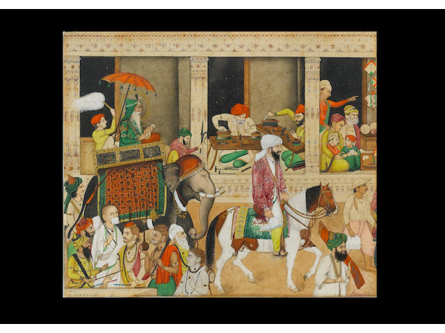 Sikh interest: Maharajah Ranjit Singh (reg. 1780-1839) in procession riding on an elephant through a bazaar, passing a jeweller's shop and a Jain monk in the foreground Company School, North India, circa 1840