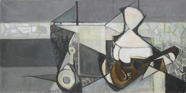 (n/a) Paul Feiler (British, b.1918) The Quay 45.7 x 91.4 cm. (18 x 36 in.)