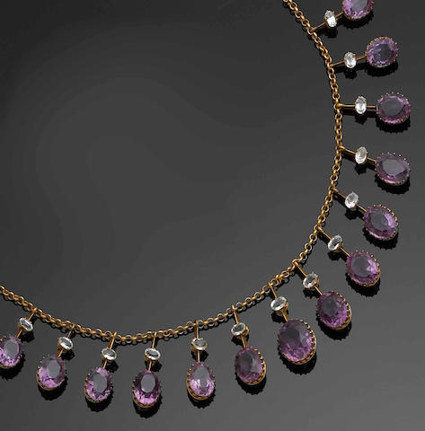 An amethyst and aquamarine necklace