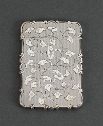 An unusual Victorian silver card case, by Edward Smith, Birmingham 1853,