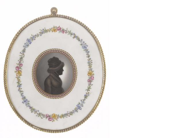 (n/a) German School, circa 1790 A silhouette of a Lady, profile to the right, wearing robe with high waistband and frilled collar, fichu, her head adorned with outdoor bonnet tied beneath the chin with ribbon