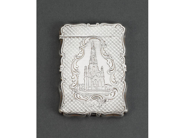 A Victorian silver pictorial card case, by Nathaniel Mills, Birmingham 1847,