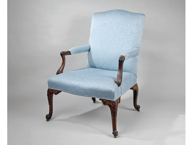 A George III mahogany frame 'Gainsborough' chair