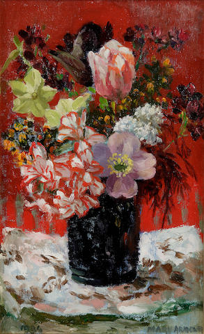 "Mary Armour, RSA RSW (British, 1902-2000) ""Spring flowers in black dish"""