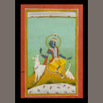 Krishna playing a flute seated on a lotus by a lotus pool, a white bull and crane before him; a whit