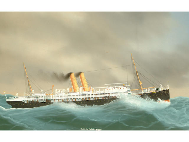 Manner of Antonio De Simone RMS Orotava in a storm; RMS Orotavia coming into port each 34.5 x 56cm (13 9/16 x 22 1/16in) (2)