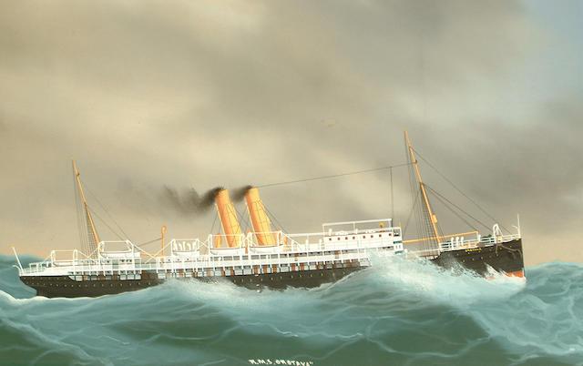 Manner of Antonio De Simone RMS Orotava in a storm; RMS Orotavia coming into port each 34.5 x 56cm (13 9/16 x 22 1/16in) (2)