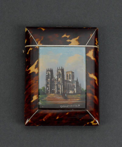 A Victorian tortoiseshell and gem painting set card case,