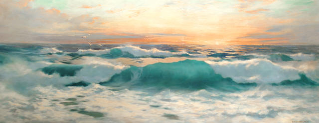Baragwanath  King (British, b.1864) Sunset over the waves