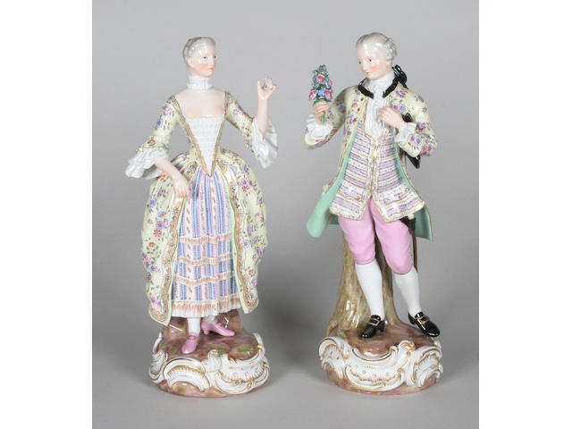 A good pair of Meissen figures of a gallant and companion Mid 19th century