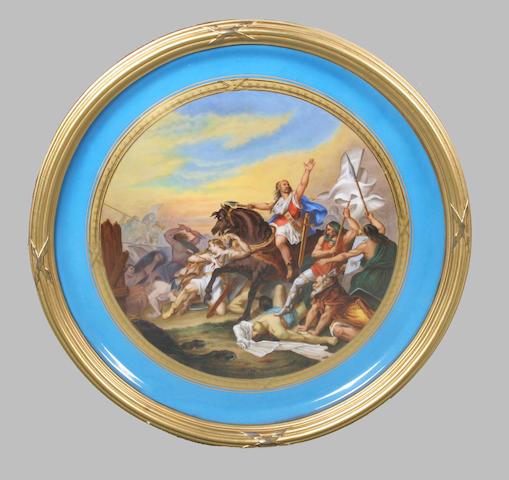 A Dresden circular plaque 'Bataille de Tolbiac