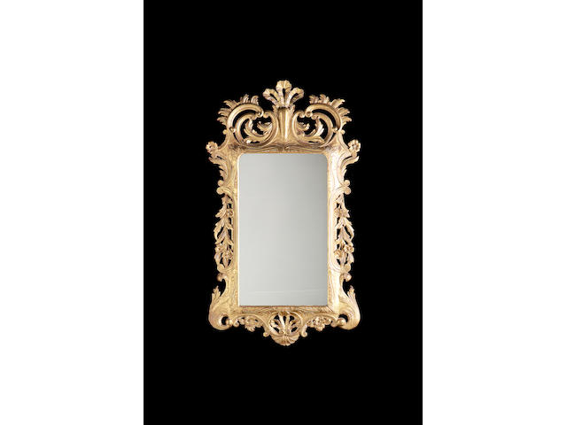 A mid 18th century rectangular giltwood mirror