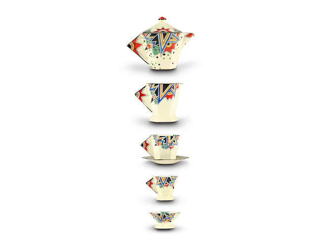 A Maling Anzac pattern tea set, circa 1930 for two (one plate missing)