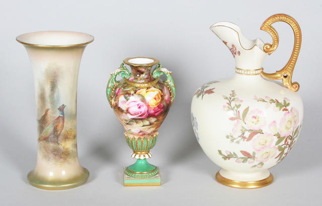 Two Royal Worcester vases and an Ivory ewer