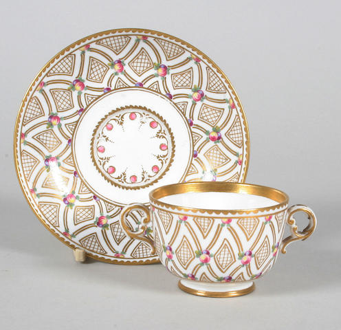 A Sèvres two handled cup and saucer