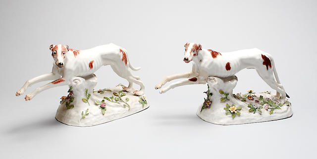 A pair of Meissen figures of greyhounds 18th Century,