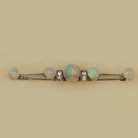 An opal and diamond bar brooch (2)