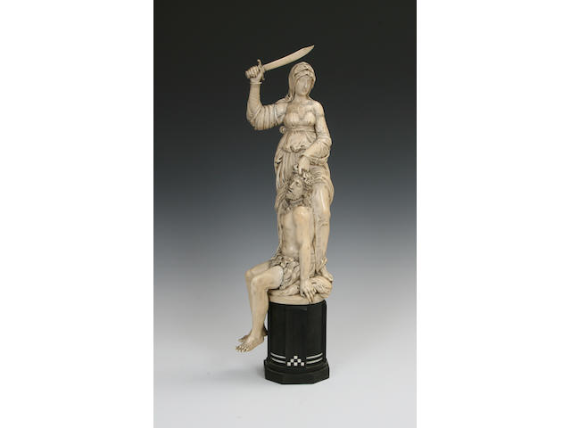 A late 19th/early 20th century carved ivory group, Salome and St.John the Baptist