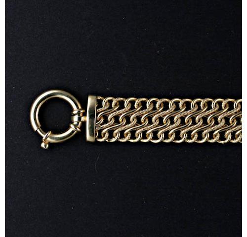 A 9ct gold fancy-link broad bracelet,