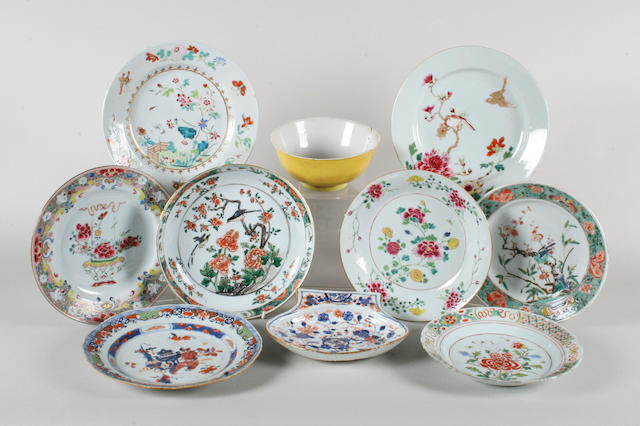 Eight various Chinese plates, a bowl and a dish
