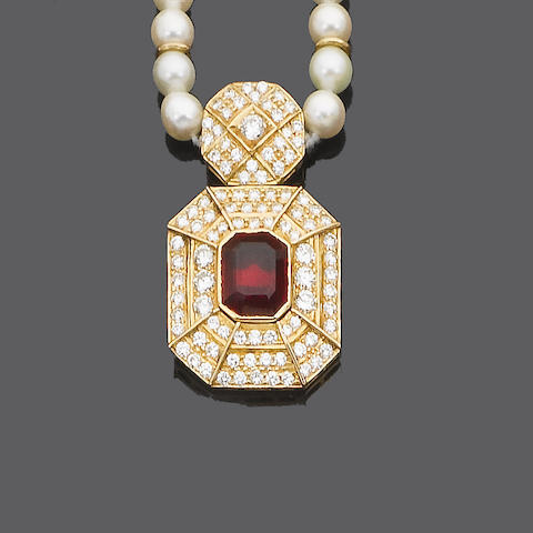 A cultured pearl, diamond and synthetic ruby necklace and earring suite