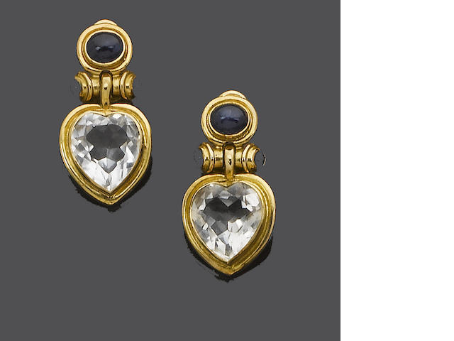 A pair of gold, rock crystal and sapphire earrings, by Deakin & Francis