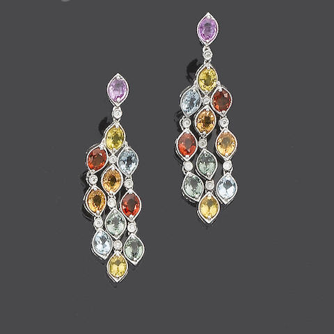 A pair of multi-coloured sapphire pendent earrings