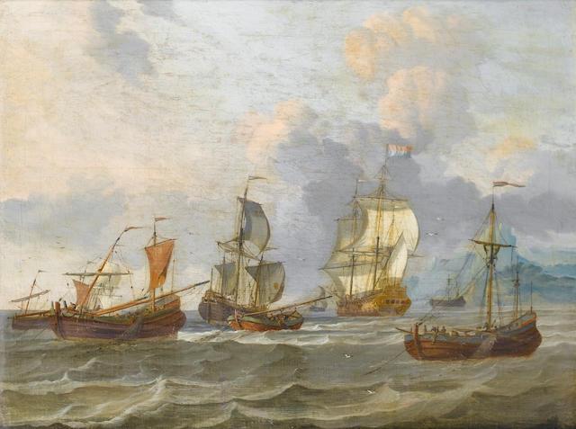 Circle of Adam Silo (Amsterdam 1674-1757) Two Dutch men o'war, 50 x 65 cm. (19¾ x 25¾ in.)