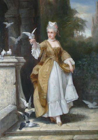 French School 19th Century Feeding doves