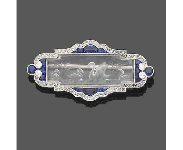 A belle époque rock crystal, sapphire and diamond brooch,
